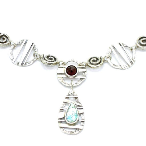 Pendant - Roman Glass And Silver Necklace - Garnet Gemstones