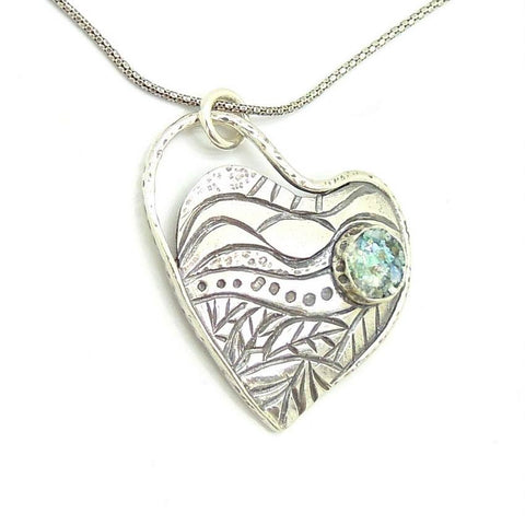 Pendant - Roman Glass And Silver Necklace -  Heart Unique Design