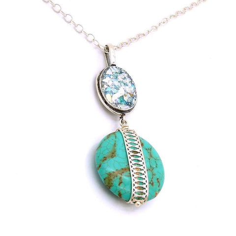 Pendant - Roman Glass And Silver Necklace - Turquoise Gemstone