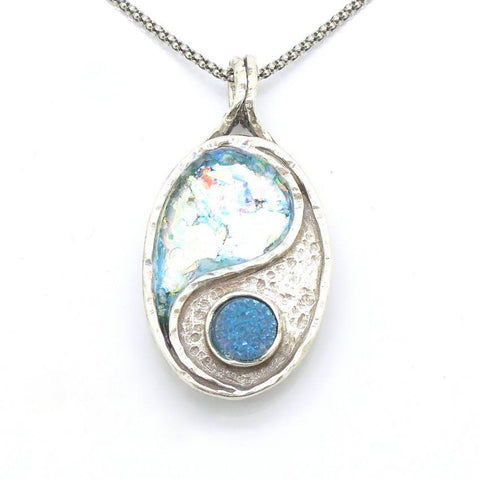 Pendant  - Roman Glass And Silver Necklace - Yin Yang Unique Design