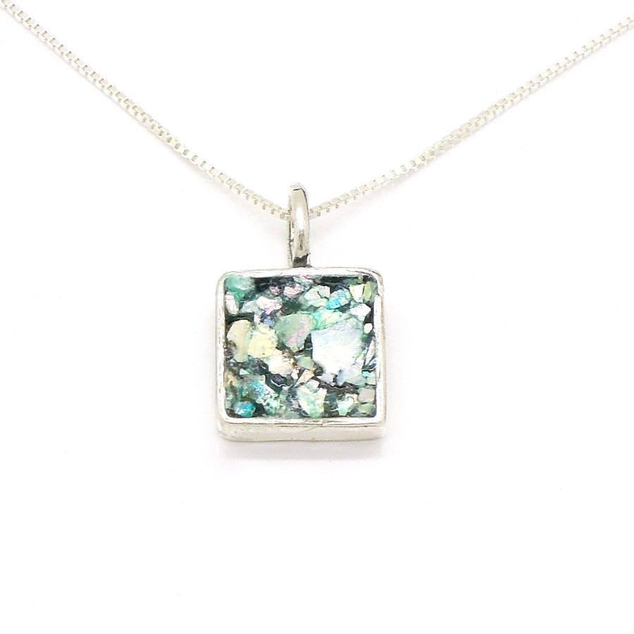 Pendant - Roman Glass And Silver Pendant - Square Unique Design