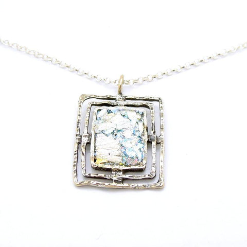 Pendant  - Roman Glass And Silver Square Pendant