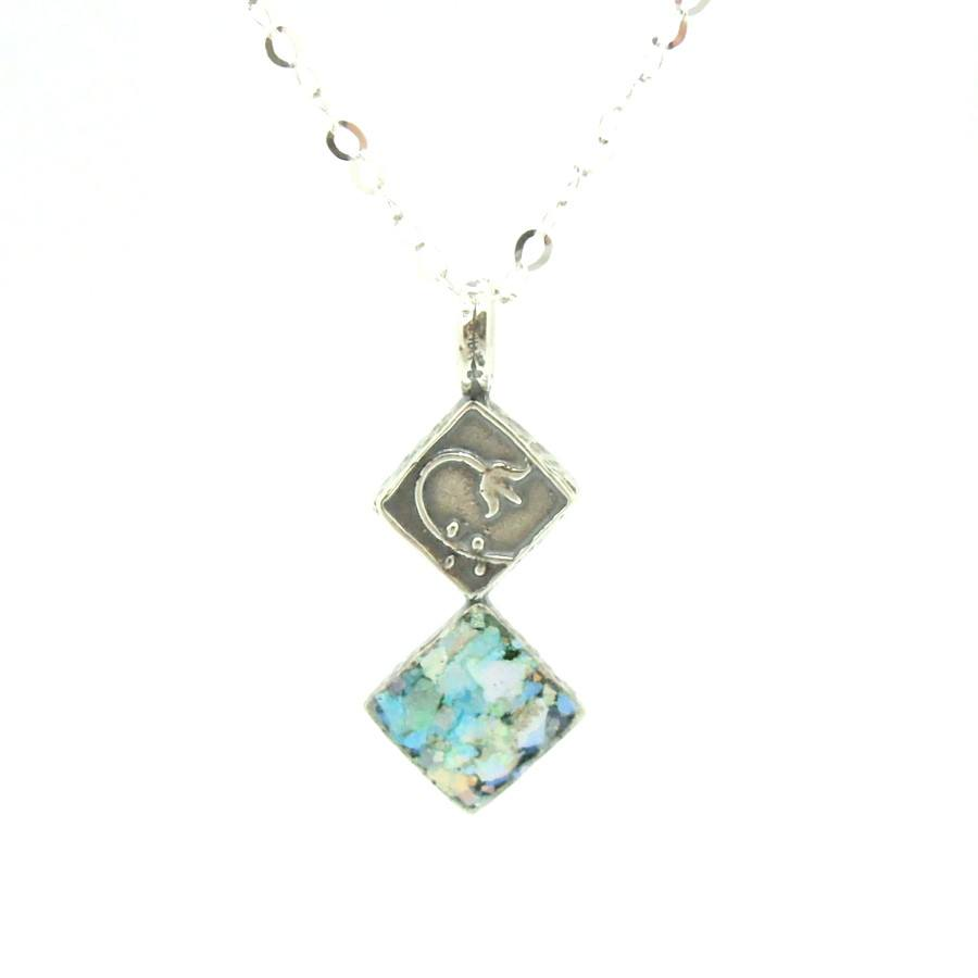 Pendant - Roman Glass Pendant With A Flower Scroll On Sterling Silver