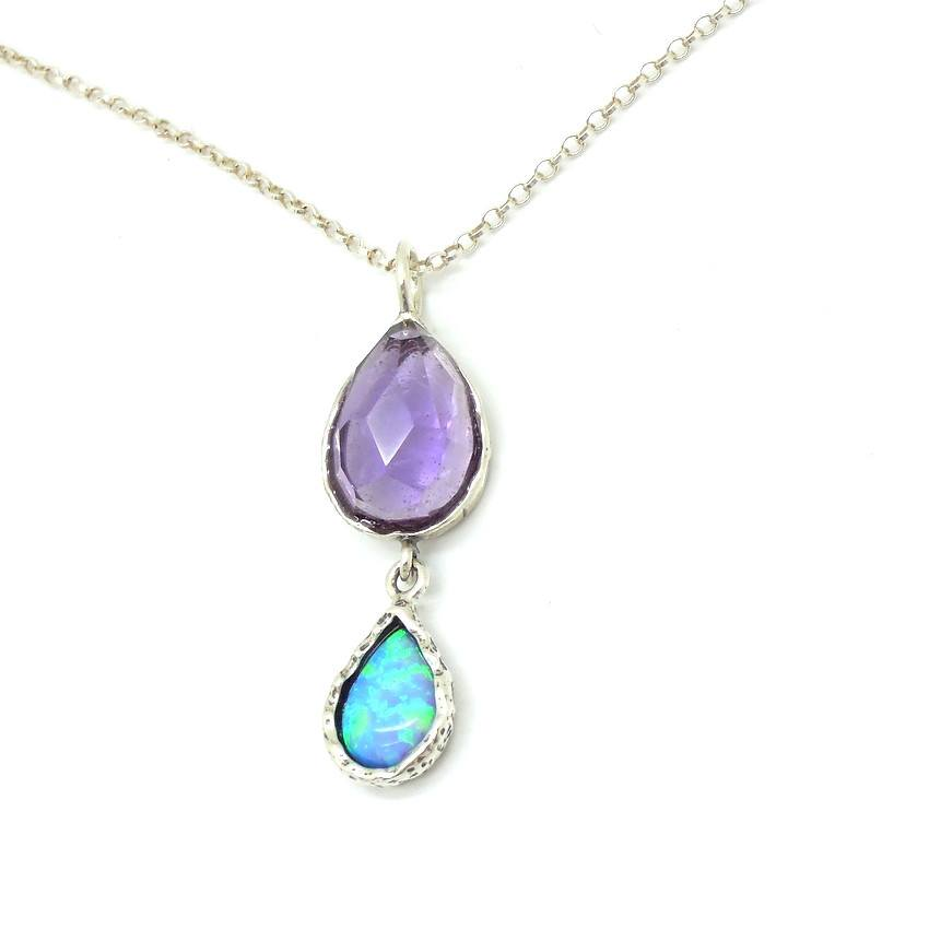 Pendant - Roman Glass Silver Pendant - Opal And Amethyst Gemstones