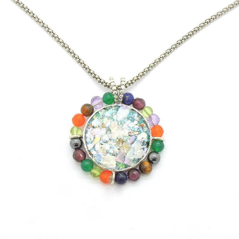 Pendant  - Round Silver And Glass Gemstone Necklace