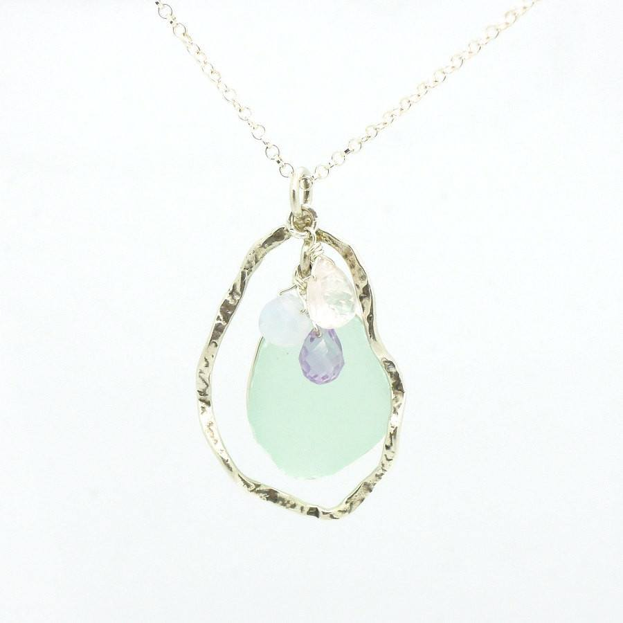 Pendant - Sea Glass Pendant With Sterling Silver & Gemstones