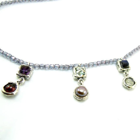 Pendant - Silver And Gemstone Necklace With Glass