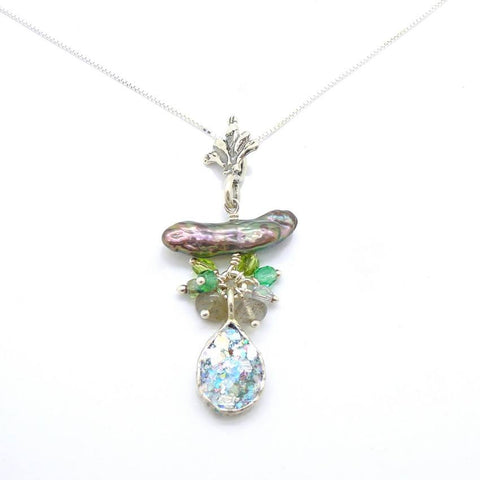 Pendant  - Silver And Roman Glass Necklace With Crystals, Labradorite And A Pearl