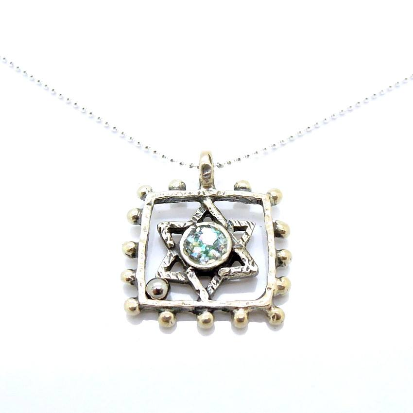 Pendant  - Silver And Roman Glass Square Circle Star Of David Necklace