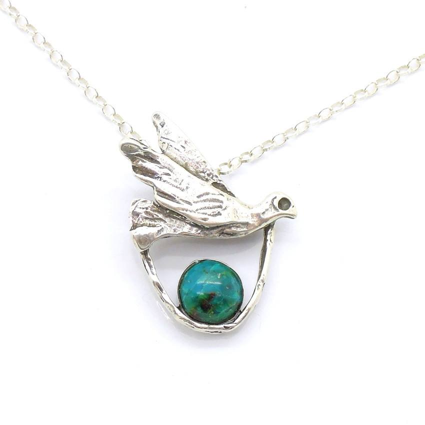 Pendant  - Silver And Turquoise Gemstone Pendant - Bird Design