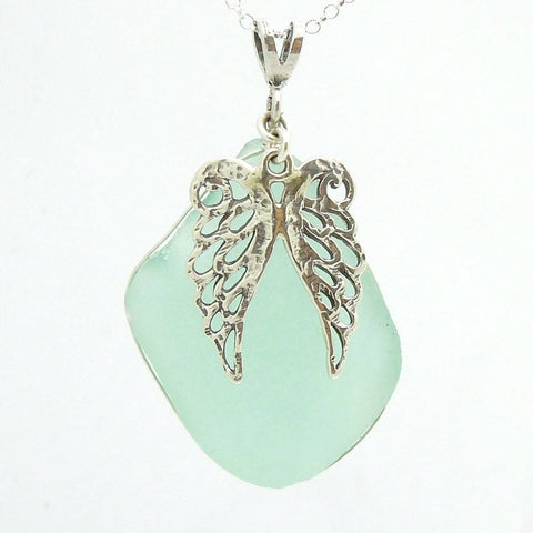 Pendant - Silver Angel Wings Sea Glass Pendant