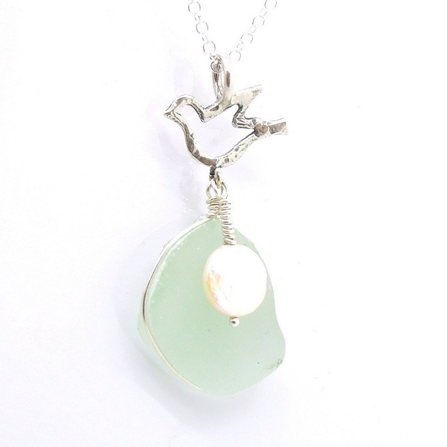 Silver bird shaped sea glass pendant with a pearl roman glass pendant silver bird shaped sea glass pendant with a pearl mozeypictures Image collections