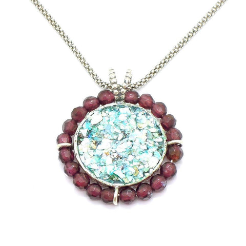 Pendant - Silver Garnet Necklace With A Round Roman Glass Pendant