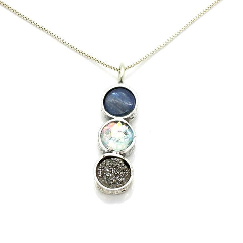 Pendant  - Silver Kyanite And Druzy Necklace