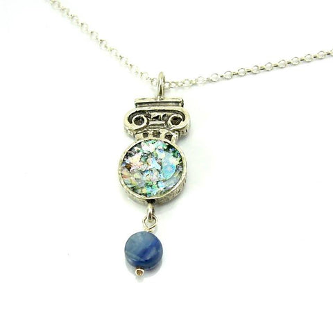 Pendant - Silver Necklace With Kyanite And Roman Glass