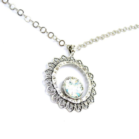 Pendant - Silver Necklace With Roman Glass Sun Shaped Pendant
