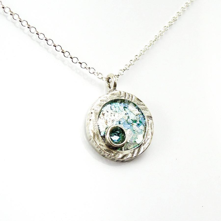 Pendant - Silver Necklace With Round Roman Glass & Blue Cubic Zircon