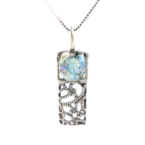 Pendant - Silver Pendant Necklace, Filigree Design With Roman Glass