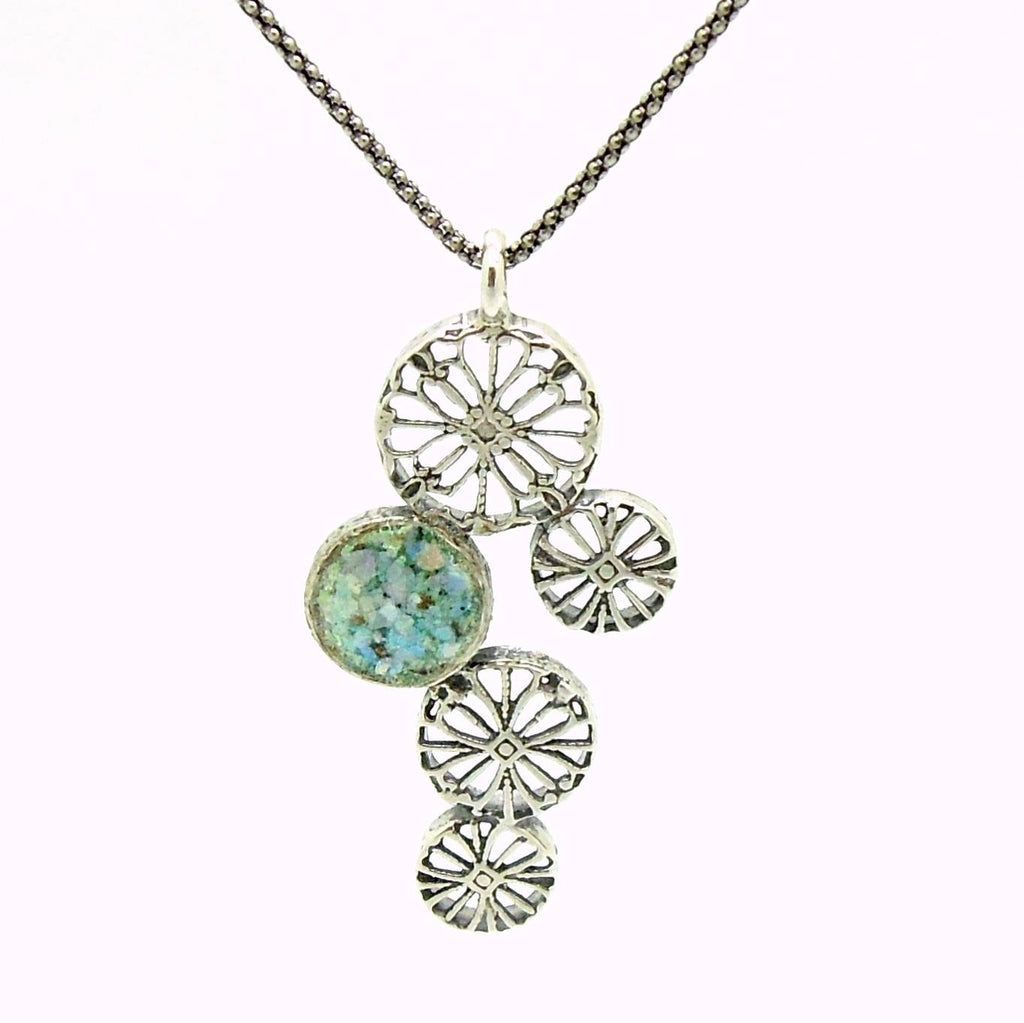 Pendant - Silver Pendant Necklace With Flower Shapes And Roman Glass