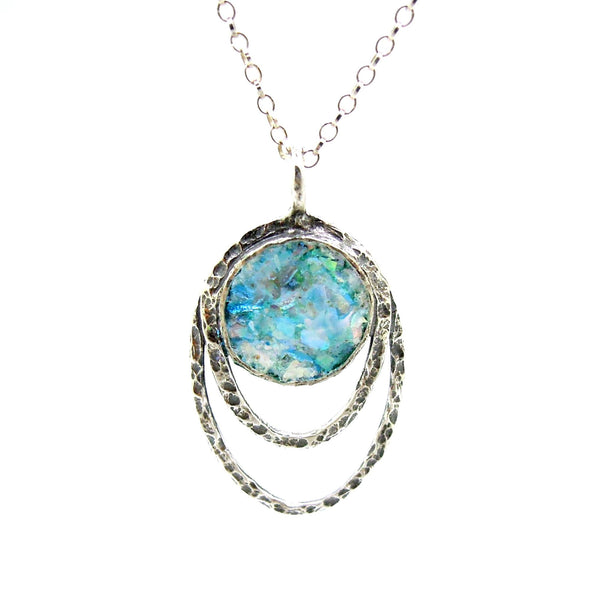 Silver Pendant Necklace With Roman Glass Set In Hammered