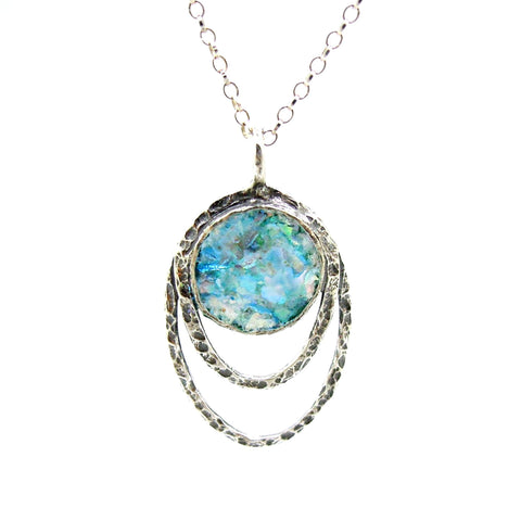 Pendant - Silver Pendant Necklace With Roman Glass Set In Hammered Oval Frame