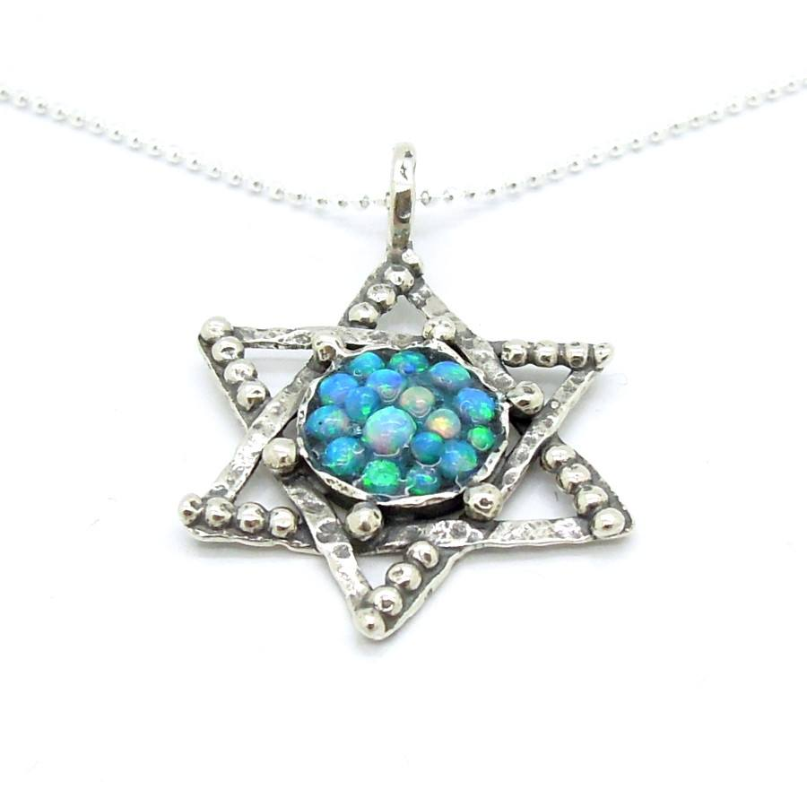 Pendant - Silver Star Of David Pendant With Mosaic Opal Stones And Sterling Circles