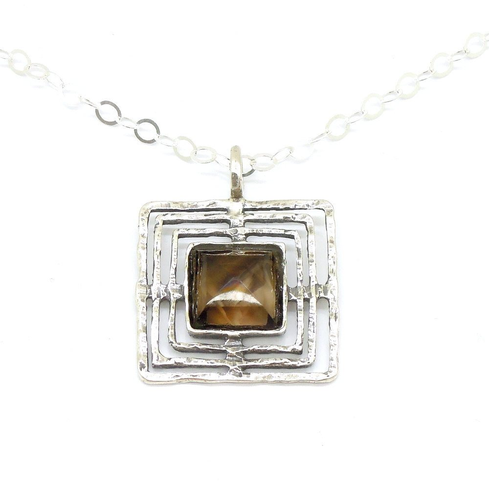 Pendant - Smoky Quartz And Silver Square Pendant