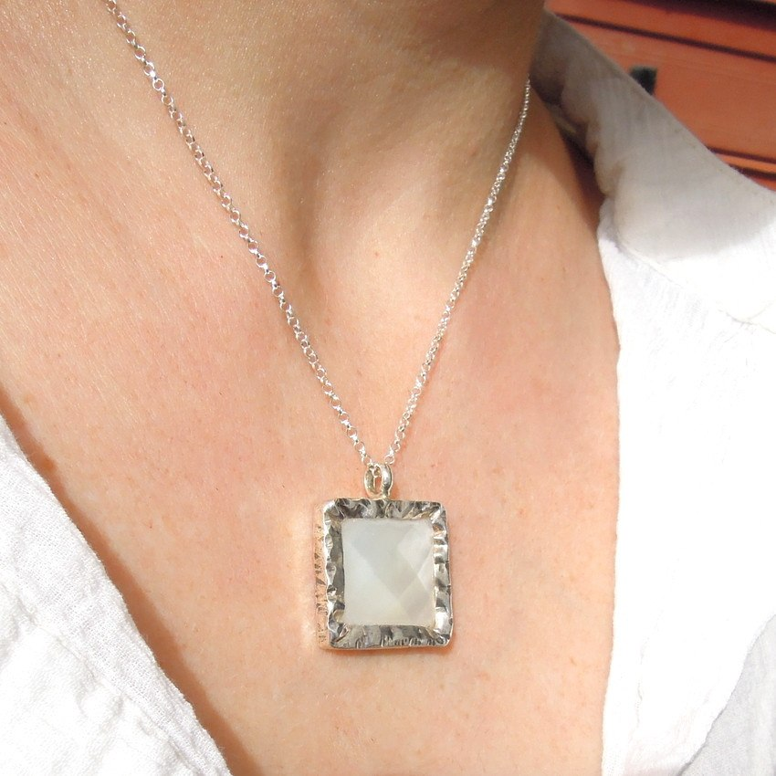 Pendant  - Square White Pearl Silver Pendant Necklace