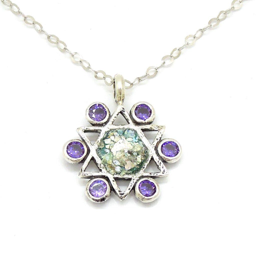 Pendant - Star Of David Necklace With Amethyst & Roman Glass