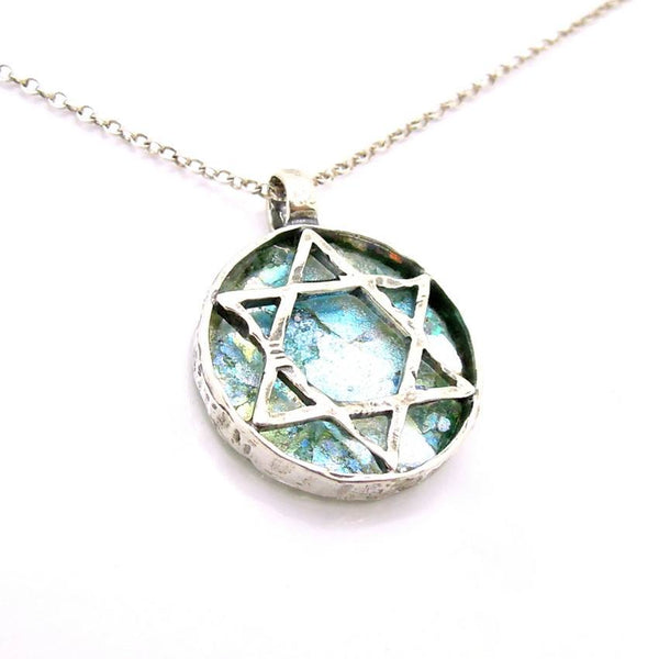 Star of david necklace with roman glass large and round for Star of david jewelry wholesale