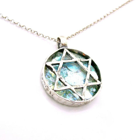 Pendant  - Star Of David Necklace With Roman Glass