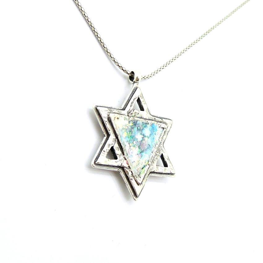 Pendant  - Star Of David Silver And Roman Glass Necklace For Men