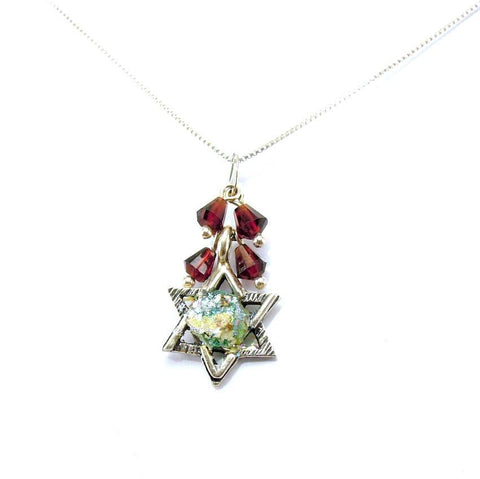 Pendant  - Star Of David Silver And Roman Glass Pendant With Garnets