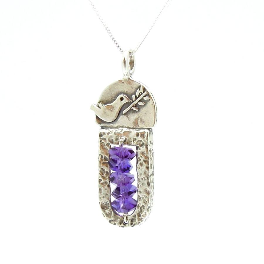 Pendant - Sterling Silver & Amethyst Pendant With A Dove Holding A Tree Branch