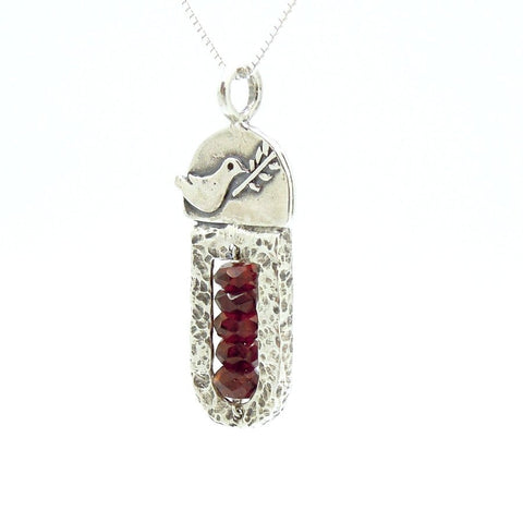 Pendant - Sterling Silver & Garnet Pendant With A Dove Holding A Tree Branch