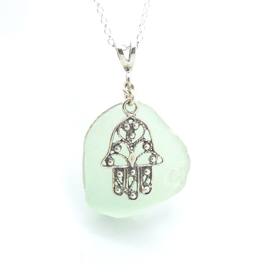 Pendant - Sterling Silver Hamsa Hand Sea Glass Pendant
