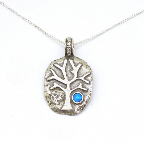 Pendant - Sterling Silver Tree Pendant With Opal