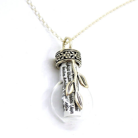 Pendant  - Travelers Prayer In A Glass Bottle Pendant