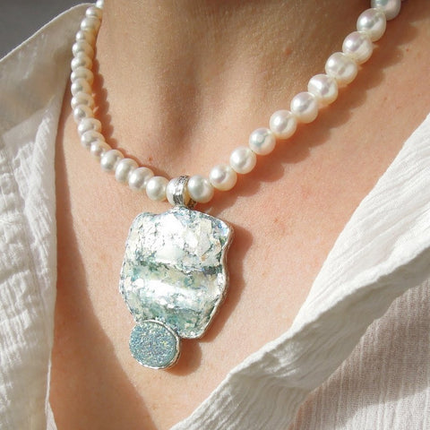 Pendant  - White Pearl Roman Glass Large Necklace With Blue Druzy Agat