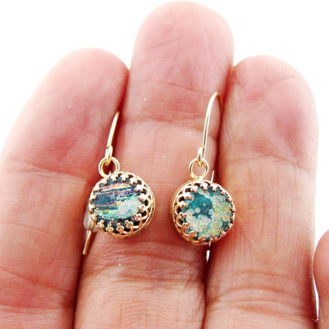 Roman Glass Jewelry, Small Earrings, Sterling Silver 925, Gift for Her, Gold Plated, Earrings with Roman Glass (rg 722egp)