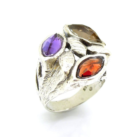 Ring - 3 Oval Gemstone Large Silver Ring