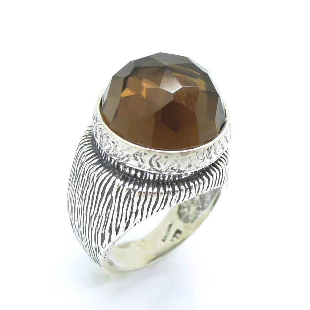 Ring - A Large And Tall Silver Ring With A Huge Smokey Quartz