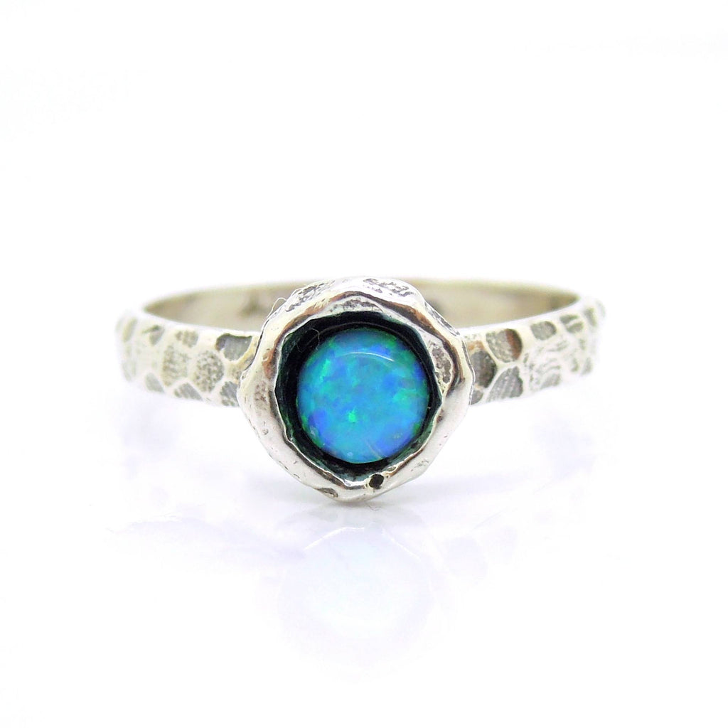 Ring - Blue Opal Ring Set In Hammered Sterling Silver, Stacking Ring