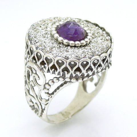 Ring - Druzy Agate & Amethyst Set In A Large Filigree Silver Ring