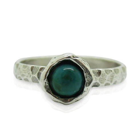 Ring - Eilat Stone Criscola Ring Set In Hammered Sterling Silver, Stacking Ring