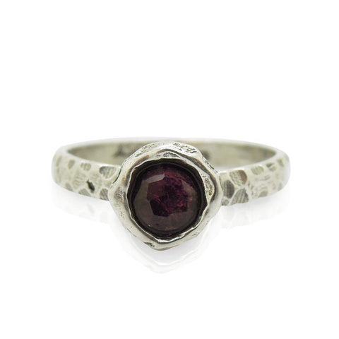 Ring - Garnet Ring Set In Hammered Sterling Silver, Stacking Ring