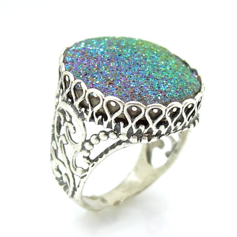 Ring - Green Druzy Agate Set In A Large Filigree Silver Ring