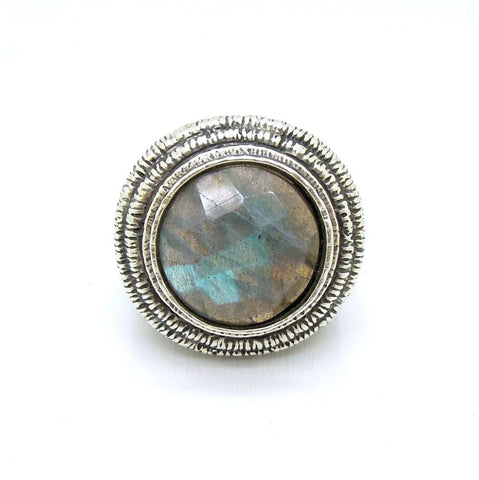 Ring - Huge Round Unisex Silver And Labradorite Ring