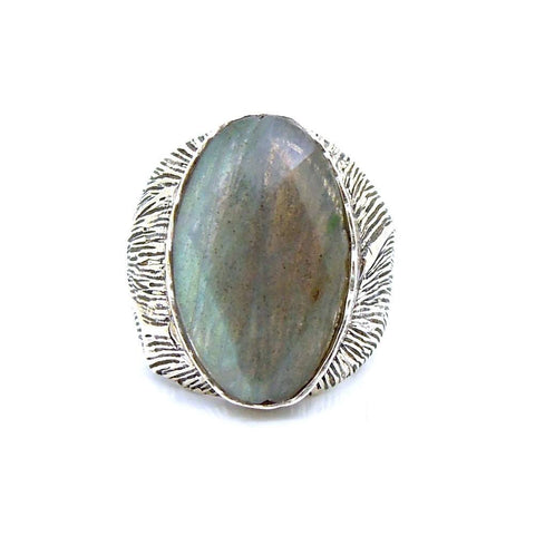 Ring - Huge Unisex Silver And Labradorite Ring