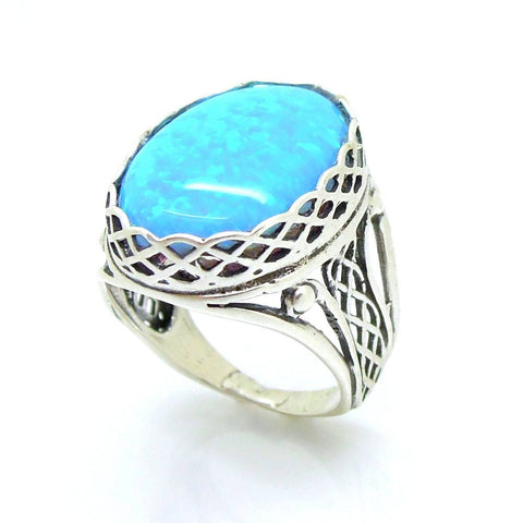 Ring - Large Opal Silver Ring Filigree Design